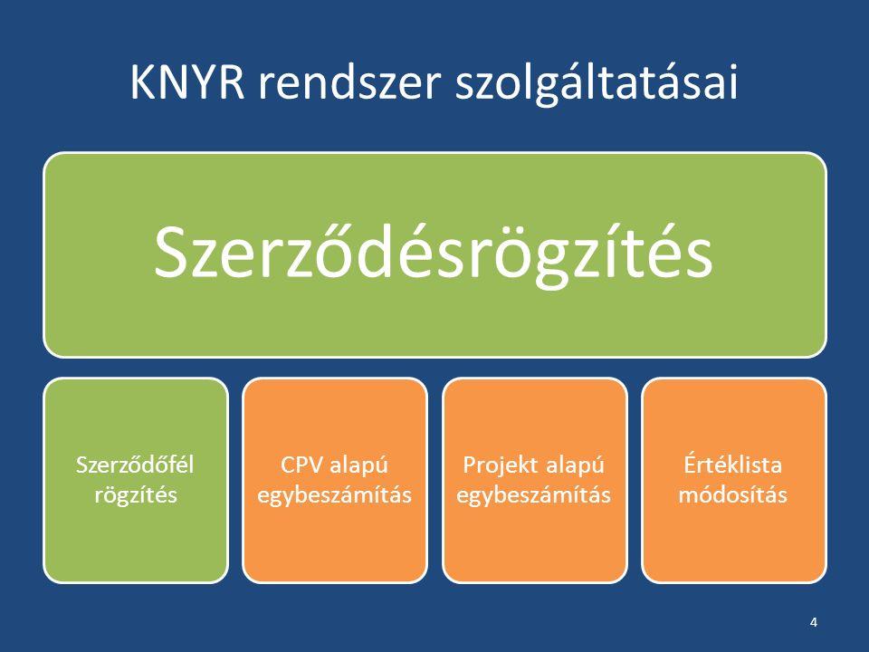 KNYR rendszer szolgáltatásai Szerződésrögzítés Szerződőfél rögzítés CPV alapú egybeszámítás Projekt alapú egybeszámítás Értéklista módosítás 4