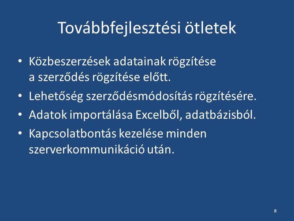Közbeszerzési SzerződésNyilvántartó Rendszer Marczell Zsófia, Singer Marcell GDF III.