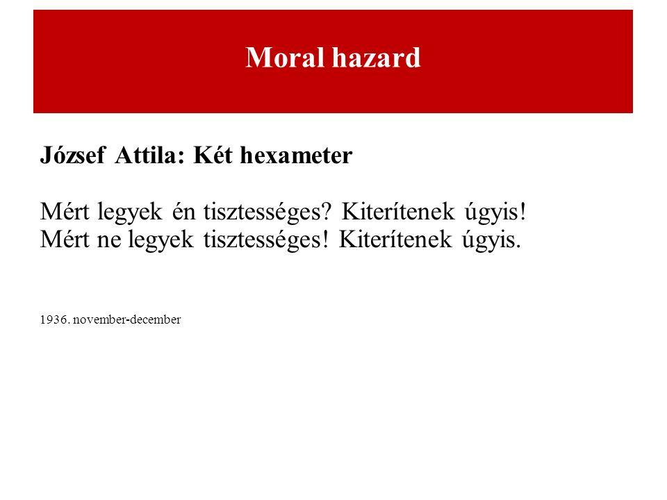 Moral hazard József Attila: Két hexameter Mért legyek én tisztességes.
