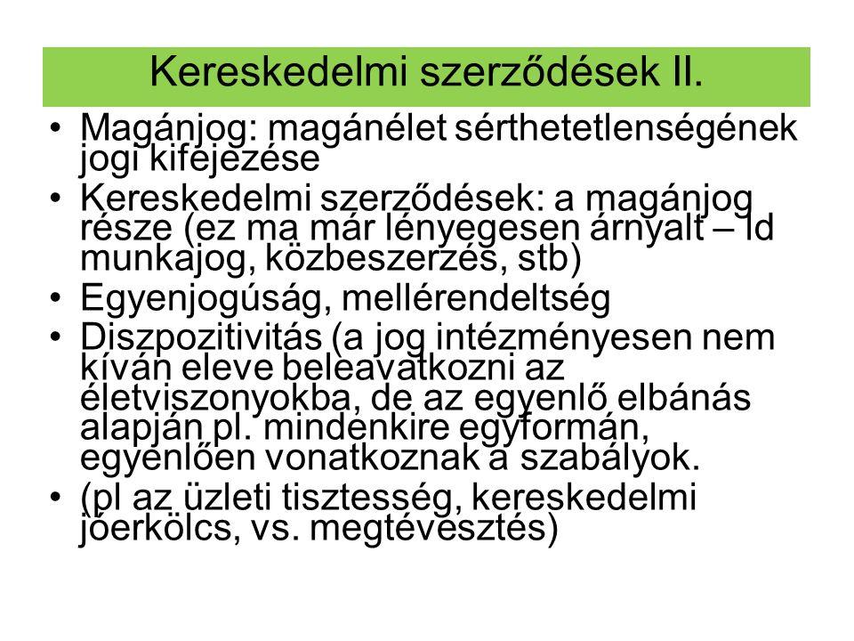 Kereskedelmi szerződések II.