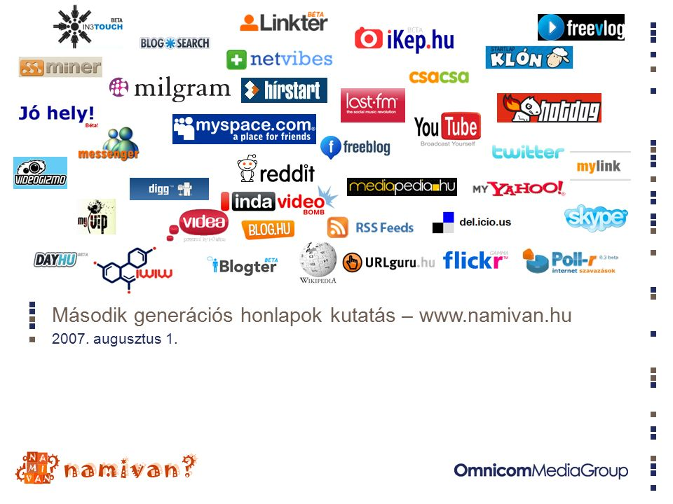 Második generációs honlapok kutatás – www.namivan.hu 2007. augusztus 1.