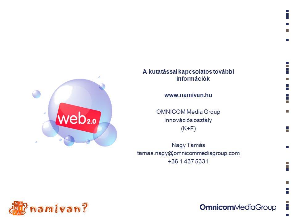 A kutatással kapcsolatos további információk www.namivan.hu OMNICOM Media Group Innovációs osztály (K+F) Nagy Tamás tamas.nagy@omnicommediagroup.com@omnicommediagroup.com +36 1 437 5331