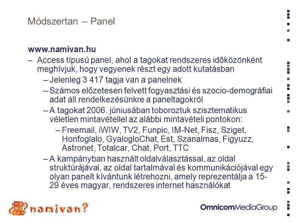 Módszertan – Panel www.namivan.hu –Access típusú panel, ahol a tagokat rendszeres időközönként meghívjuk, hogy vegyenek részt egy adott kutatásban –Jelenleg 3 417 tagja van a panelnek –Számos előzetesen felvett fogyasztási és szocio-demográfiai adat áll rendelkezésünkre a paneltagokról –A tagokat 2006.