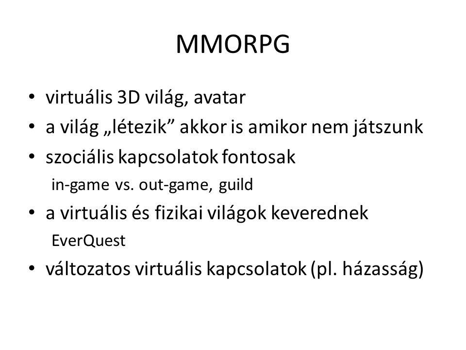 """MMORPG virtuális 3D világ, avatar a világ """"létezik akkor is amikor nem játszunk szociális kapcsolatok fontosak in-game vs."""