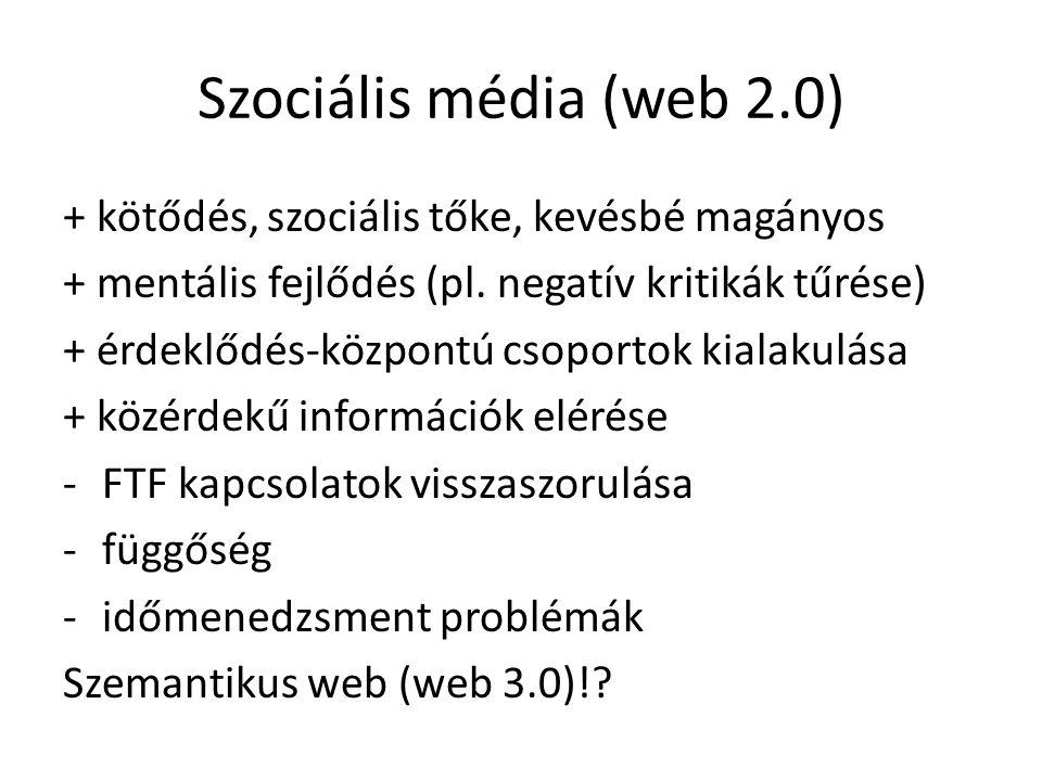Szociális média (web 2.0) + kötődés, szociális tőke, kevésbé magányos + mentális fejlődés (pl.