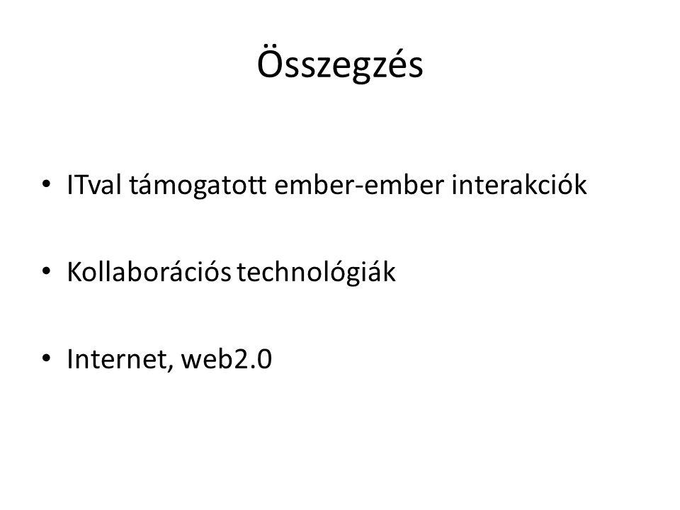 Összegzés ITval támogatott ember-ember interakciók Kollaborációs technológiák Internet, web2.0
