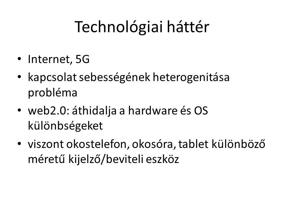 Technológiai háttér Internet, 5G kapcsolat sebességének heterogenitása probléma web2.0: áthidalja a hardware és OS különbségeket viszont okostelefon, okosóra, tablet különböző méretű kijelző/beviteli eszköz