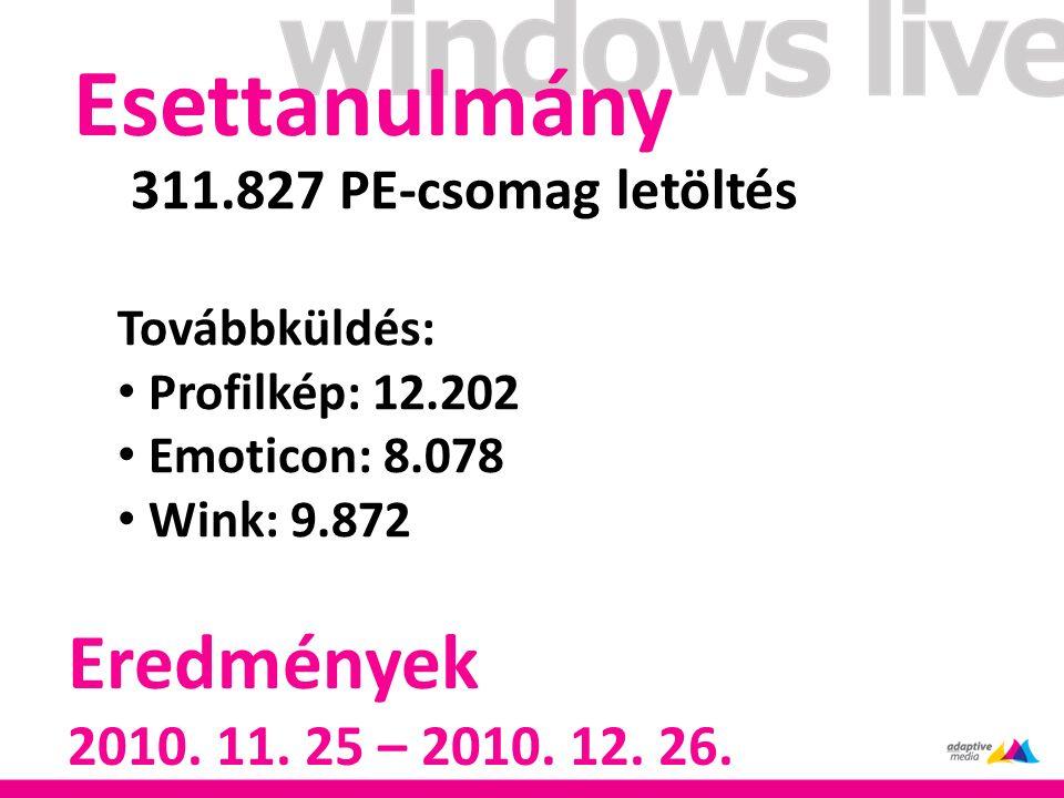 Esettanulmány Eredmények 2010. 11. 25 – 2010. 12.