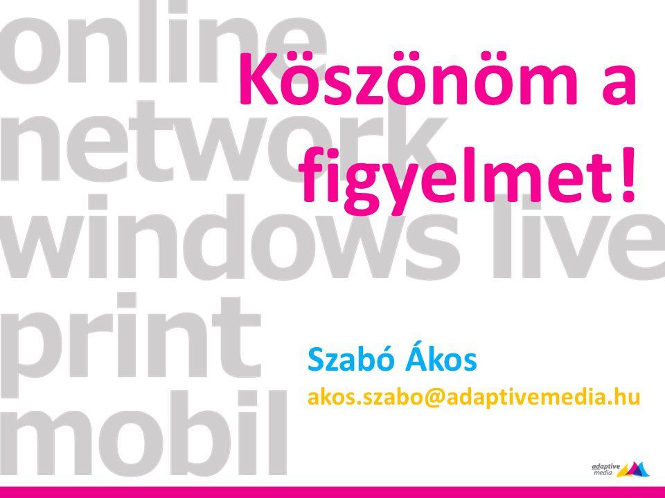 Köszönöm a figyelmet! Szabó Ákos akos.szabo@adaptivemedia.hu