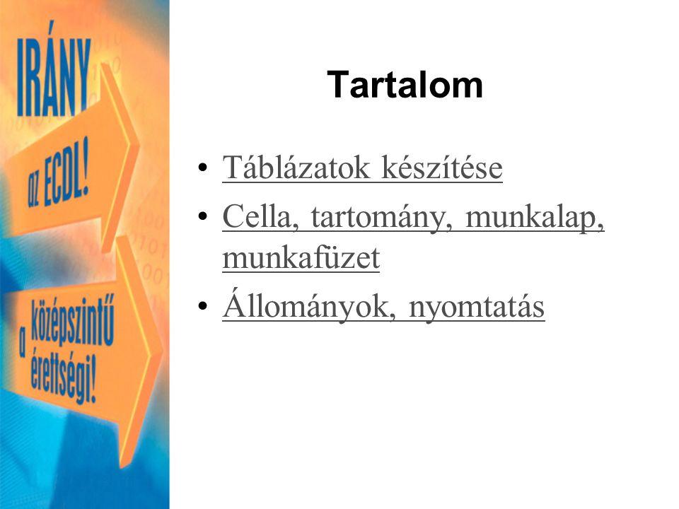 Tartalom Táblázatok készítése Cella, tartomány, munkalap, munkafüzetCella, tartomány, munkalap, munkafüzet Állományok, nyomtatás
