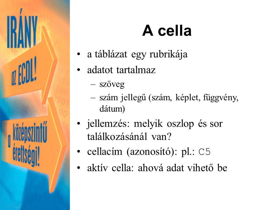 A cella a táblázat egy rubrikája adatot tartalmaz –szöveg –szám jellegű (szám, képlet, függvény, dátum) jellemzés: melyik oszlop és sor találkozásánál