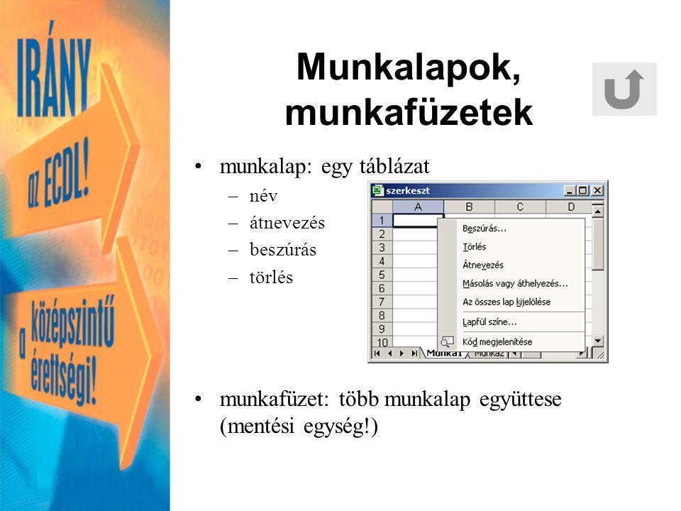 Fájlformátumok KiterjesztésLeírás XLSMS Excel-munkafüzet SXCOpenOffice.org-munkafüzet TXT, CSVelválasztójellel (;, TAB, stb.) tagolt szöveges állomány DBFdBase által értelmezhető táblázat HTM, HTML munkalap mentése weblapként