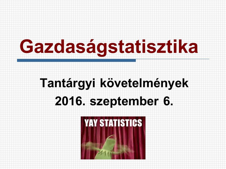 Gazdaságstatisztika Tantárgyi követelmények 2016. szeptember 6.