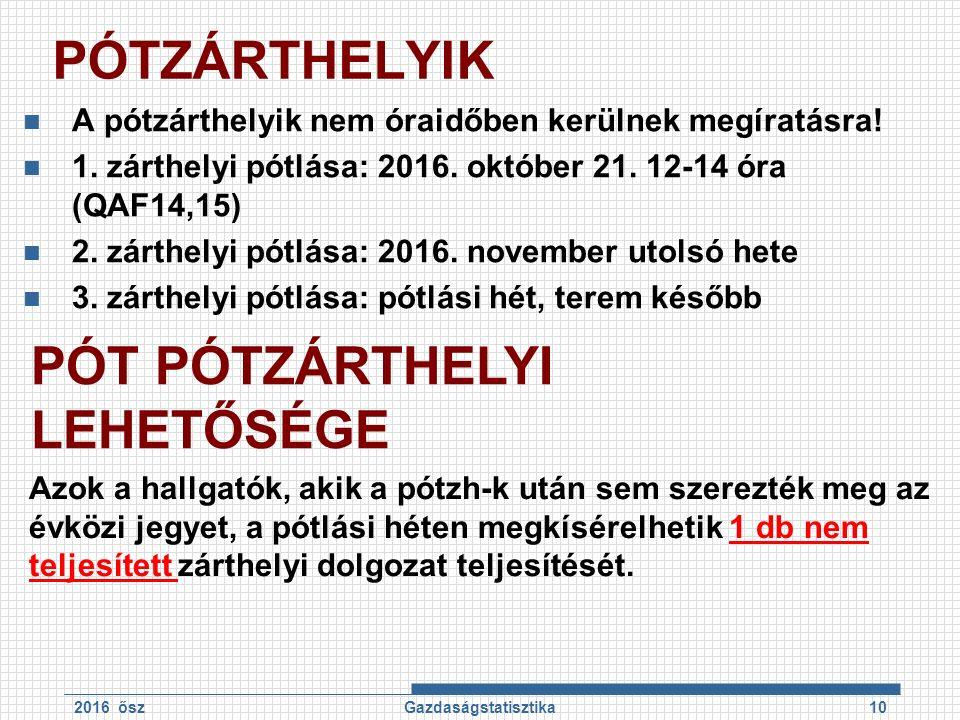 PÓTZÁRTHELYIK A pótzárthelyik nem óraidőben kerülnek megíratásra! 1. zárthelyi pótlása: 2016. október 21. 12-14 óra (QAF14,15) 2. zárthelyi pótlása: 2