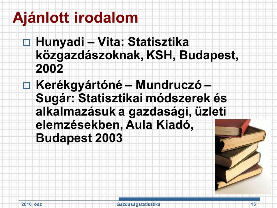 Ajánlott irodalom  Hunyadi – Vita: Statisztika közgazdászoknak, KSH, Budapest, 2002  Kerékgyártóné – Mundruczó – Sugár: Statisztikai módszerek és al