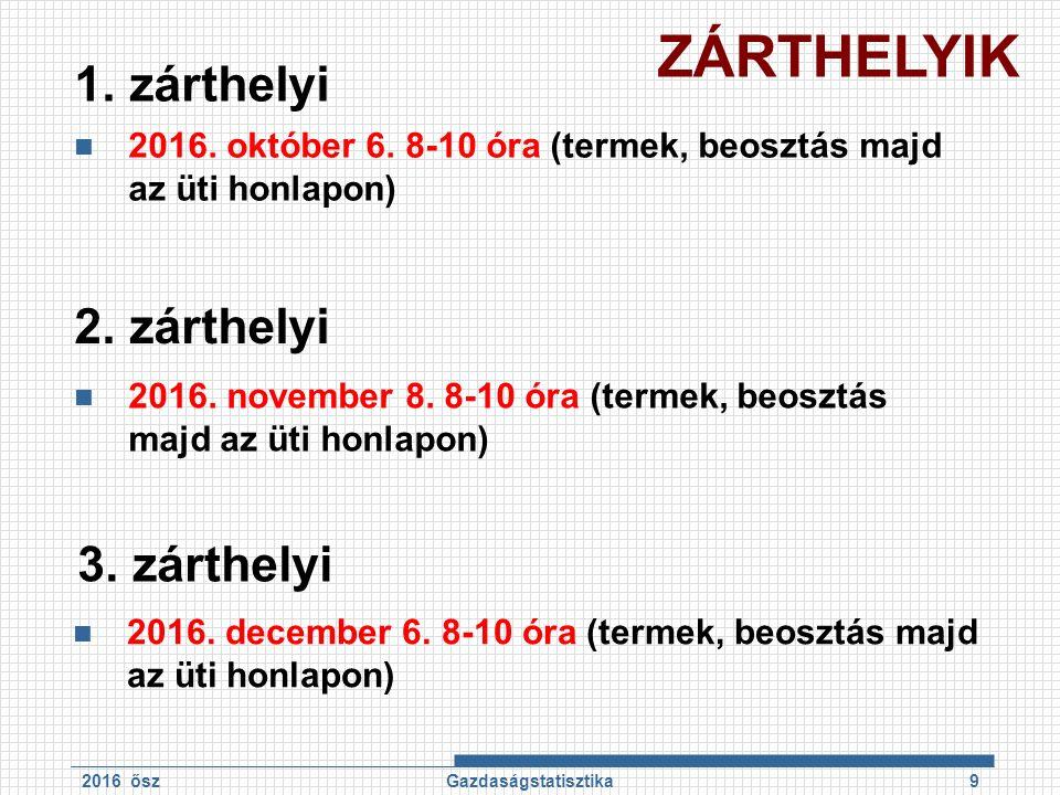 1. zárthelyi 2016. október 6. 8-10 óra (termek, beosztás majd az üti honlapon) 2016 őszGazdaságstatisztika9 2. zárthelyi 2016. november 8. 8-10 óra (t