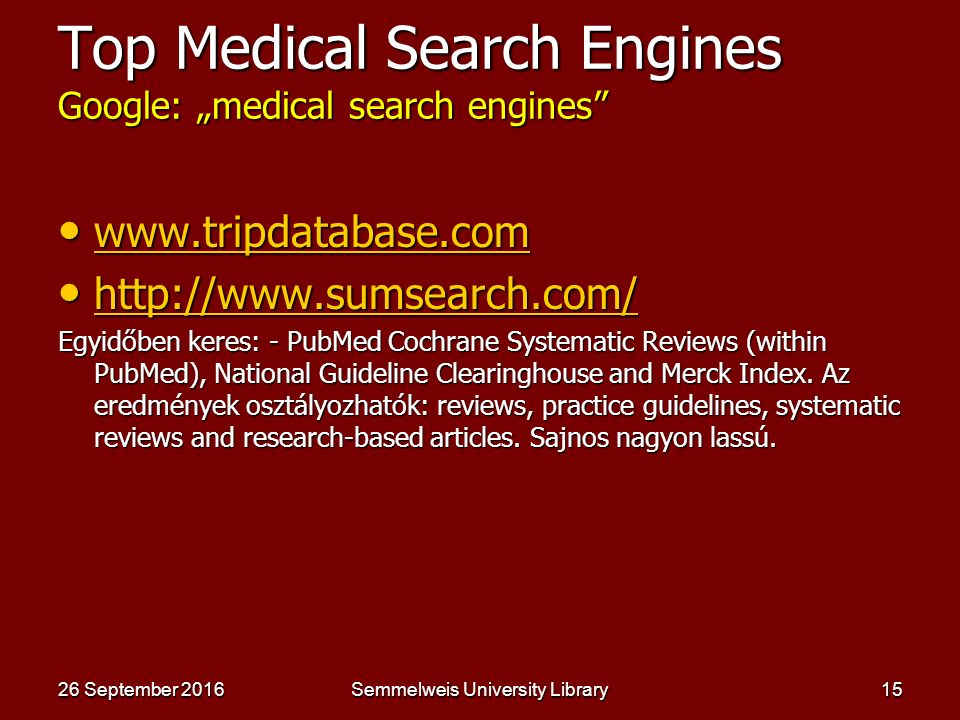 "Semmelweis University Library14 Google – ""(list of visual) search engines"" www.touchgraph.com www.touchgraph.comwww.touchgraph.com http://www.nexplore"