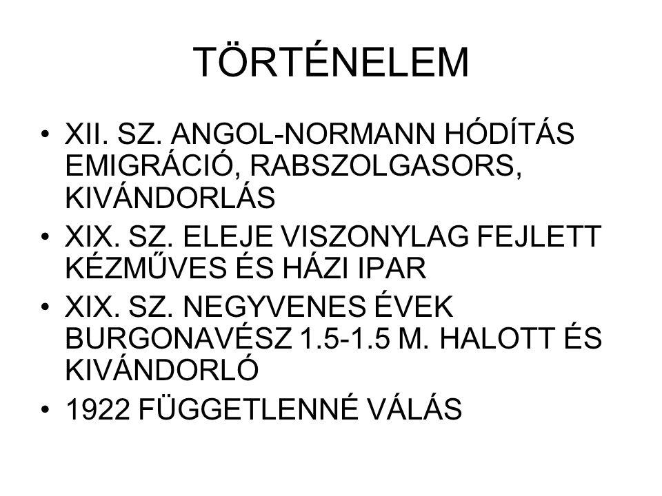 TÖRTÉNELEM XII.SZ. ANGOL-NORMANN HÓDÍTÁS EMIGRÁCIÓ, RABSZOLGASORS, KIVÁNDORLÁS XIX.