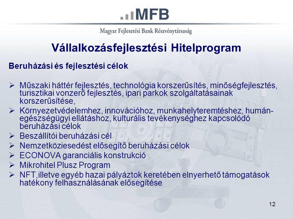 12 Vállalkozásfejlesztési Hitelprogram Beruházási és fejlesztési célok  Műszaki háttér fejlesztés, technológia korszerűsítés, minőségfejlesztés, turi