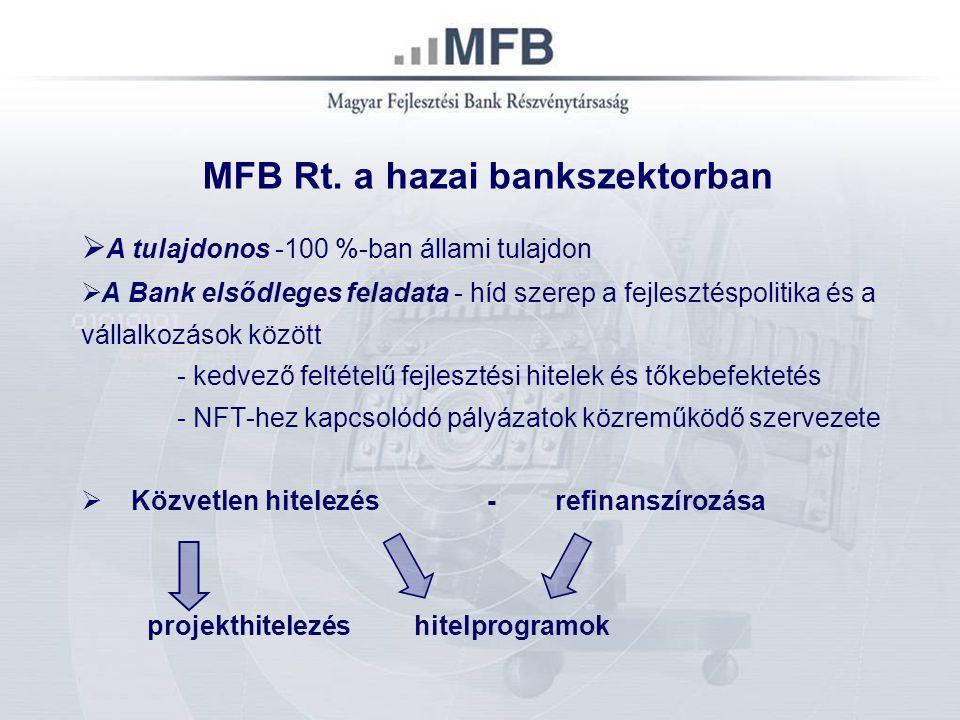 5 MFB Rt. a hazai bankszektorban  A tulajdonos -100 %-ban állami tulajdon  A Bank elsődleges feladata - híd szerep a fejlesztéspolitika és a vállalk