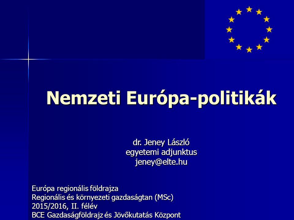 Nemzeti Európa-politikák Európa regionális földrajza Regionális és környezeti gazdaságtan (MSc) 2015/2016, II.