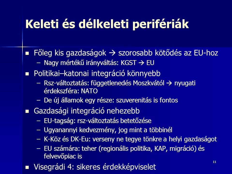 11 Keleti és délkeleti perifériák Főleg kis gazdaságok  szorosabb kötődés az EU-hoz – –Nagy mértékű irányváltás: KGST  EU Politikai–katonai integráció könnyebb – –Rsz-változtatás: függetlenedés Moszkvától  nyugati érdekszféra: NATO – –De új államok egy része: szuverenitás is fontos Gazdasági integráció nehezebb – –EU-tagság: rsz-változtatás betetőzése – –Ugyanannyi kedvezmény, jog mint a többinél – –K-Köz és DK-Eu: verseny ne tegye tönkre a helyi gazdaságot – –EU számára: teher (regionális politika, KAP, migráció) és felvevőpiac is Visegrádi 4: sikeres érdekképviselet