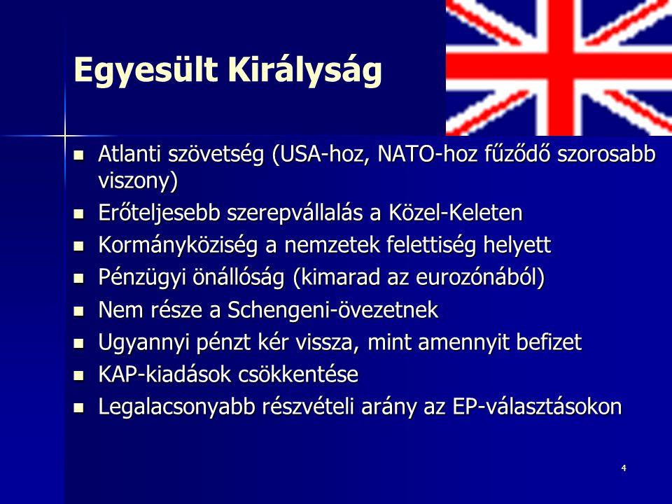 4 Egyesült Királyság Atlanti szövetség (USA-hoz, NATO-hoz fűződő szorosabb viszony) Atlanti szövetség (USA-hoz, NATO-hoz fűződő szorosabb viszony) Erőteljesebb szerepvállalás a Közel-Keleten Erőteljesebb szerepvállalás a Közel-Keleten Kormányköziség a nemzetek felettiség helyett Kormányköziség a nemzetek felettiség helyett Pénzügyi önállóság (kimarad az eurozónából) Pénzügyi önállóság (kimarad az eurozónából) Nem része a Schengeni-övezetnek Nem része a Schengeni-övezetnek Ugyannyi pénzt kér vissza, mint amennyit befizet Ugyannyi pénzt kér vissza, mint amennyit befizet KAP-kiadások csökkentése KAP-kiadások csökkentése Legalacsonyabb részvételi arány az EP-választásokon Legalacsonyabb részvételi arány az EP-választásokon