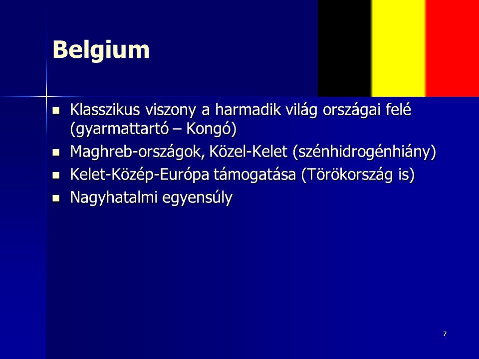 7 Belgium Klasszikus viszony a harmadik világ országai felé (gyarmattartó – Kongó) Klasszikus viszony a harmadik világ országai felé (gyarmattartó – Kongó) Maghreb-országok, Közel-Kelet (szénhidrogénhiány) Maghreb-országok, Közel-Kelet (szénhidrogénhiány) Kelet-Közép-Európa támogatása (Törökország is) Kelet-Közép-Európa támogatása (Törökország is) Nagyhatalmi egyensúly Nagyhatalmi egyensúly