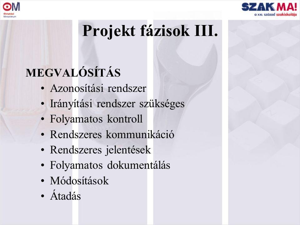 9 Cél (amit a projekt megvalósításával el akarunk érni); Fázisok, szakaszok (különböző szintű mérföldkövek); Tevékenységek, feladatok (sorrendben való végrehajtásuk biztosítja a projekt kitűzött céljának elérését).