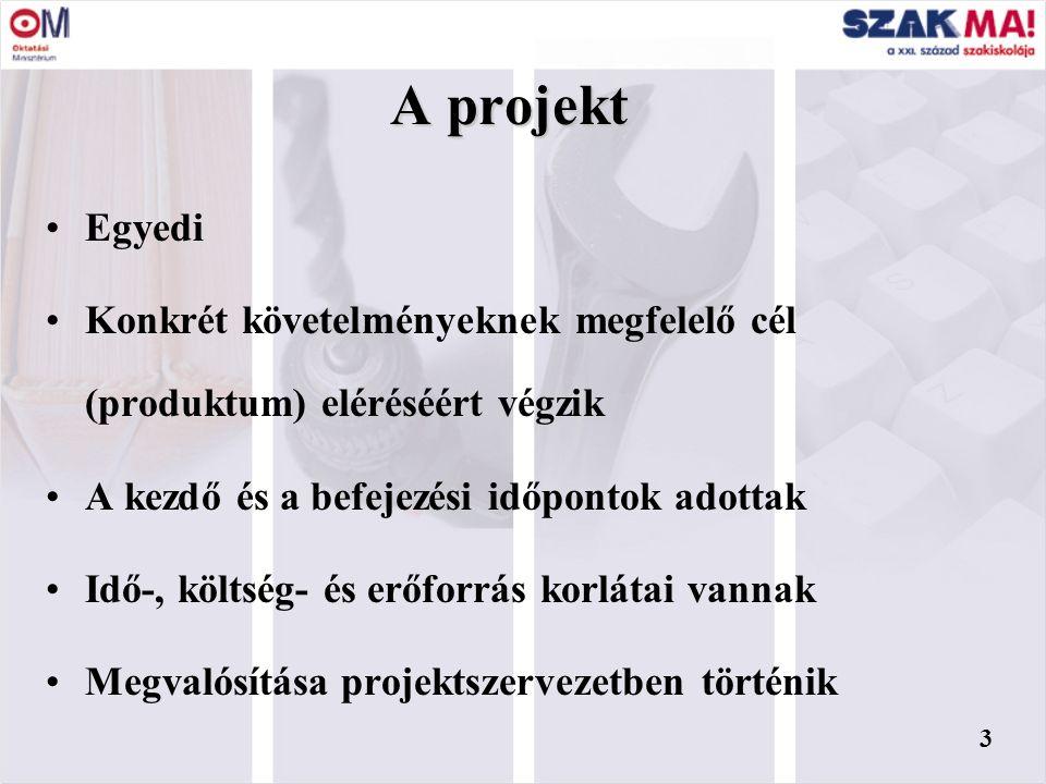 2 Az előadás tartalmi elemei  A projekt fogalma  A projektek elemei  A projekt szervezete  Projektfázisok  A projektirányítás eszközei