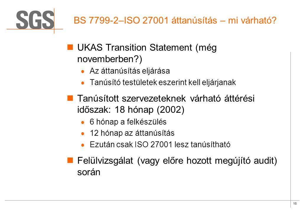 16 BS 7799-2–ISO 27001 áttanúsítás – mi várható.