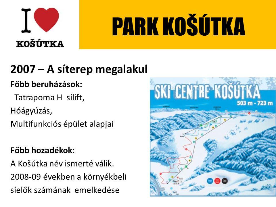 2007 – A síterep megalakul Főbb beruházások: Tatrapoma H sílift, Hóágyúzás, Multifunkciós épület alapjai Főbb hozadékok: A Košútka név ismerté válik.