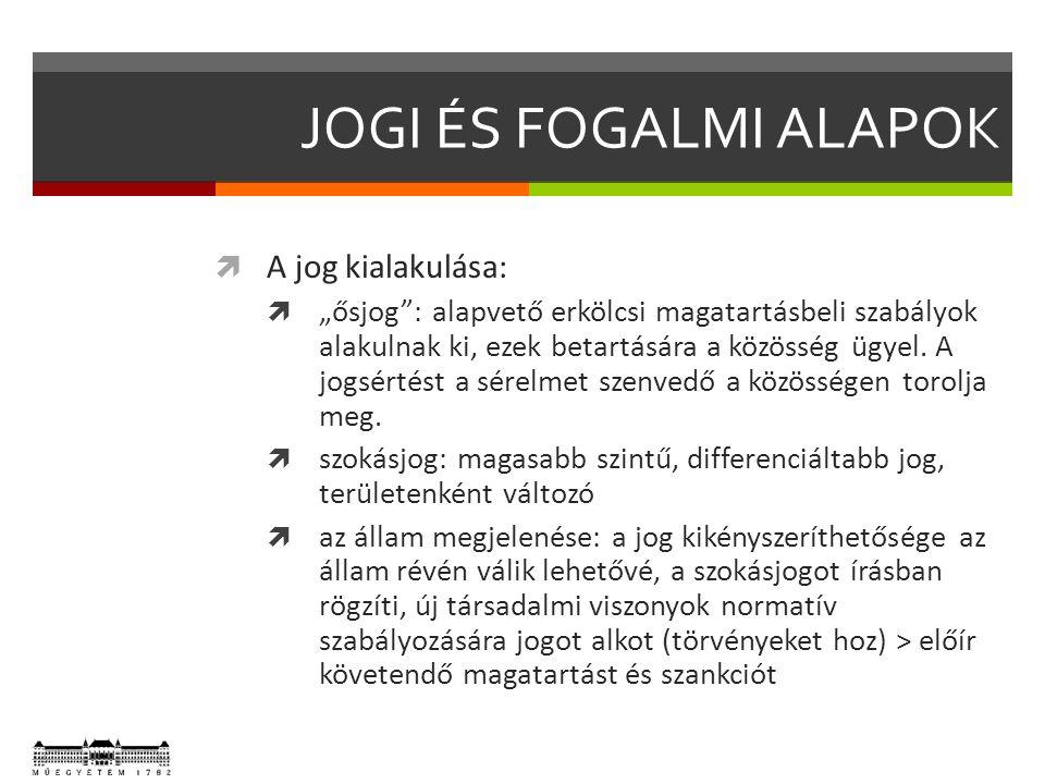 """JOGI ÉS FOGALMI ALAPOK  A jog kialakulása:  """"ősjog"""": alapvető erkölcsi magatartásbeli szabályok alakulnak ki, ezek betartására a közösség ügyel. A j"""