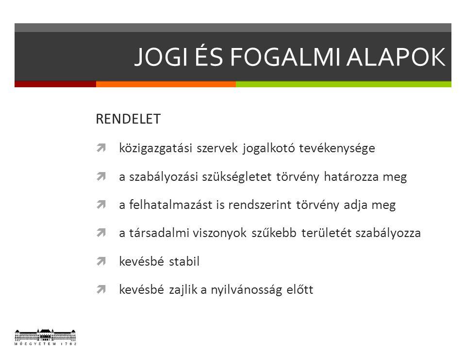 JOGI ÉS FOGALMI ALAPOK RENDELET  közigazgatási szervek jogalkotó tevékenysége  a szabályozási szükségletet törvény határozza meg  a felhatalmazást
