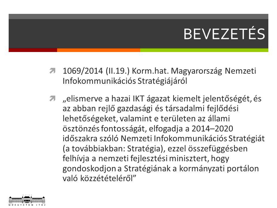 """BEVEZETÉS  1069/2014 (II.19.) Korm.hat. Magyarország Nemzeti Infokommunikációs Stratégiájáról  """"elismerve a hazai IKT ágazat kiemelt jelentőségét, é"""