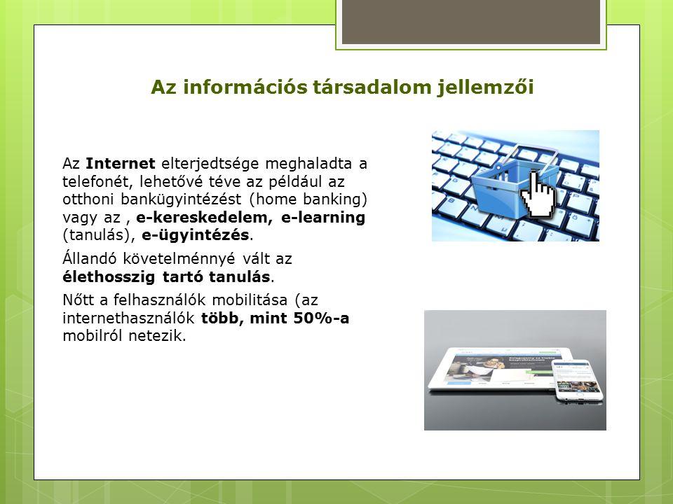 Az Internet elterjedtsége meghaladta a telefonét, lehetővé téve az például az otthoni bankügyintézést (home banking) vagy az, e-kereskedelem, e-learning (tanulás), e-ügyintézés.