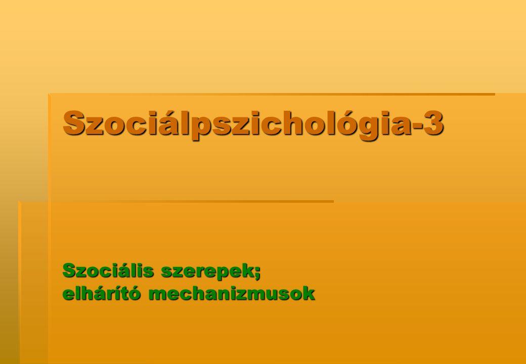 Szociálpszichológia-3 Szociális szerepek; elhárító mechanizmusok