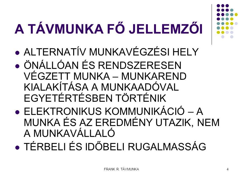 FRANK R. TÁVMUNKA15 KÖVETKEZTETÉS munkavállaló jó 2 0 nem jó x 1 jó munkaadó