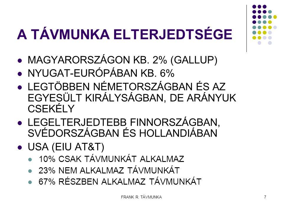 FRANK R. TÁVMUNKA7 A TÁVMUNKA ELTERJEDTSÉGE MAGYARORSZÁGON KB. 2% (GALLUP) NYUGAT-EURÓPÁBAN KB. 6% LEGTÖBBEN NÉMETORSZÁGBAN ÉS AZ EGYESÜLT KIRÁLYSÁGBA