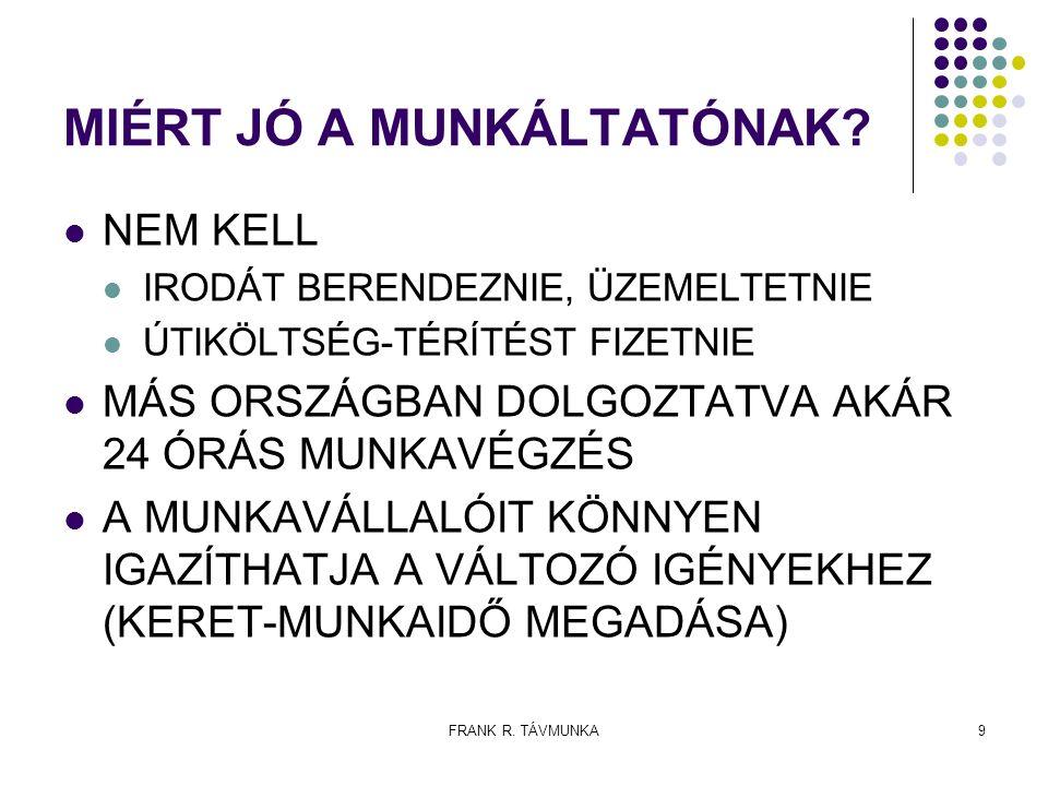 FRANK R.TÁVMUNKA10 MIÉRT VESZÉLYES A TÁVMUNKÁSNAK.