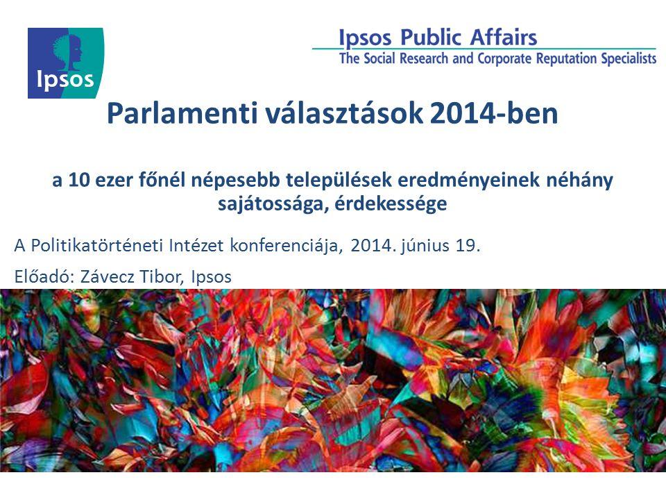 Parlamenti választások 2014-ben a 10 ezer főnél népesebb települések eredményeinek néhány sajátossága, érdekessége A Politikatörténeti Intézet konferenciája, 2014.
