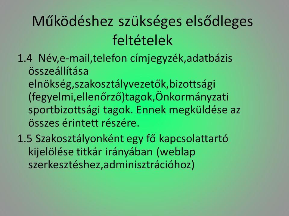 Működéshez szükséges elsődleges feltételek 1.4 Név,e-mail,telefon címjegyzék,adatbázis összeállítása elnökség,szakosztályvezetők,bizottsági (fegyelmi,