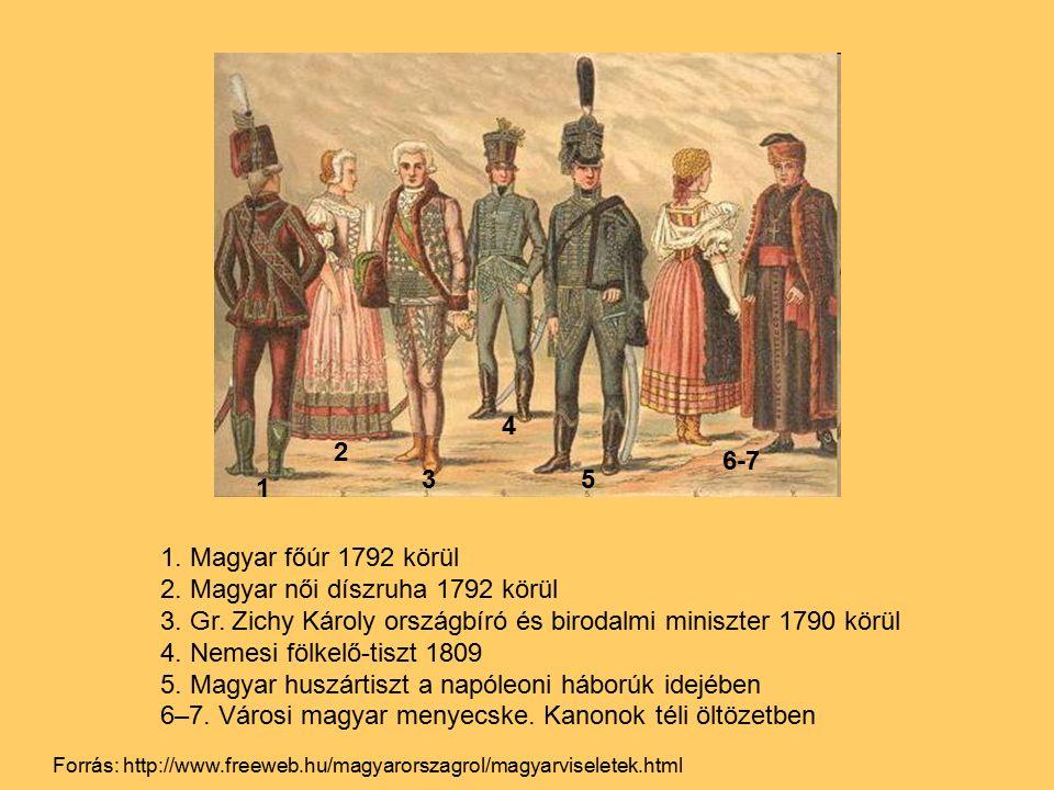 1. Magyar főúr 1792 körül 2. Magyar női díszruha 1792 körül 3.
