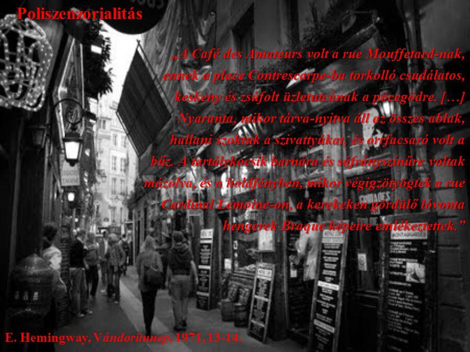 """""""A Café des Amateurs volt a rue Mouffetard-nak, ennek a place Contrescarpe-ba torkolló csudálatos, keskeny és zsúfolt üzletutcának a pöcegödre."""