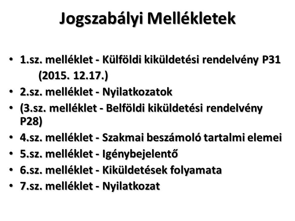 Jogszabályi Mellékletek 1.sz. melléklet - Külföldi kiküldetési rendelvény P31 1.sz.