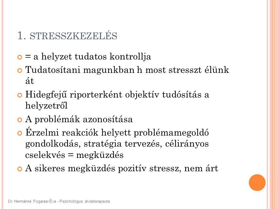 1. STRESSZKEZELÉS = a helyzet tudatos kontrollja Tudatosítani magunkban h most stresszt élünk át Hidegfejű riporterként objektív tudósítás a helyzetrő