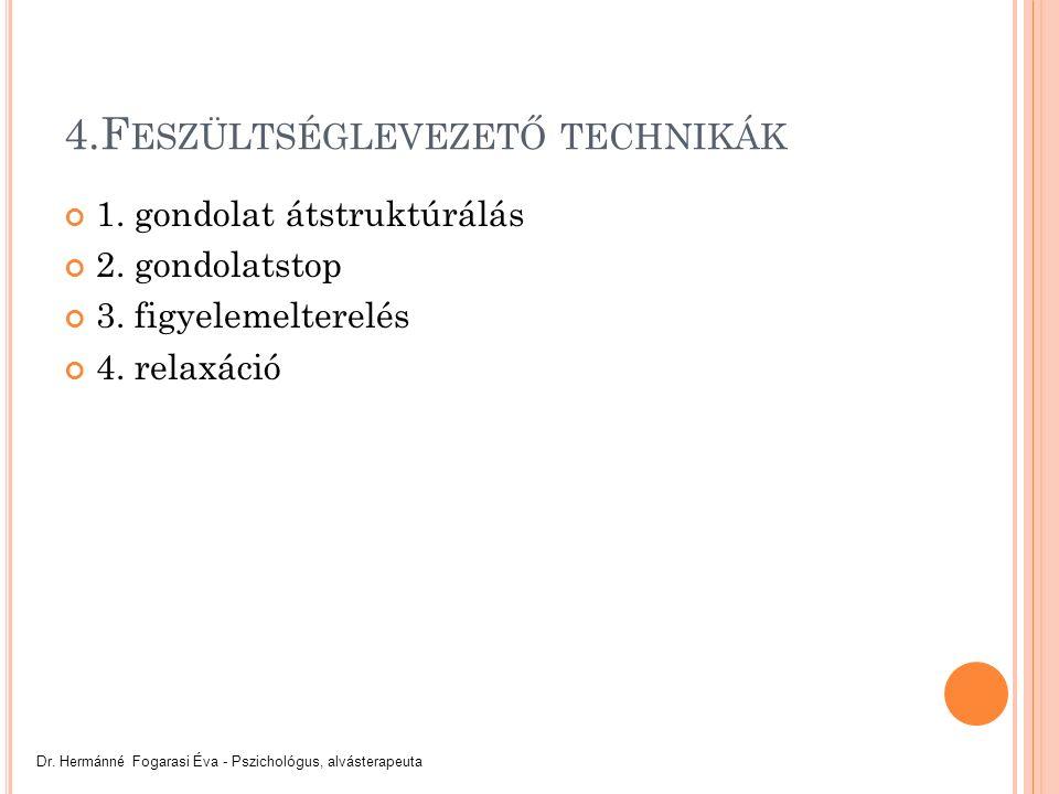 4.F ESZÜLTSÉGLEVEZETŐ TECHNIKÁK 1. gondolat átstruktúrálás 2.