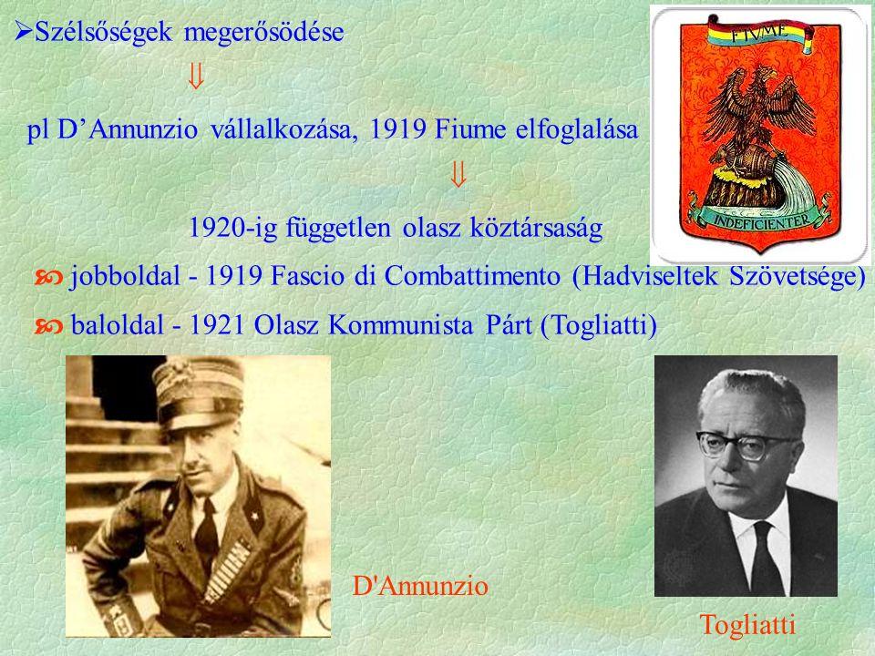  Szélsőségek megerősödése  pl D'Annunzio vállalkozása, 1919 Fiume elfoglalása  1920-ig független olasz köztársaság  jobboldal - 1919 Fascio di Combattimento (Hadviseltek Szövetsége)  baloldal - 1921 Olasz Kommunista Párt (Togliatti) Togliatti D Annunzio