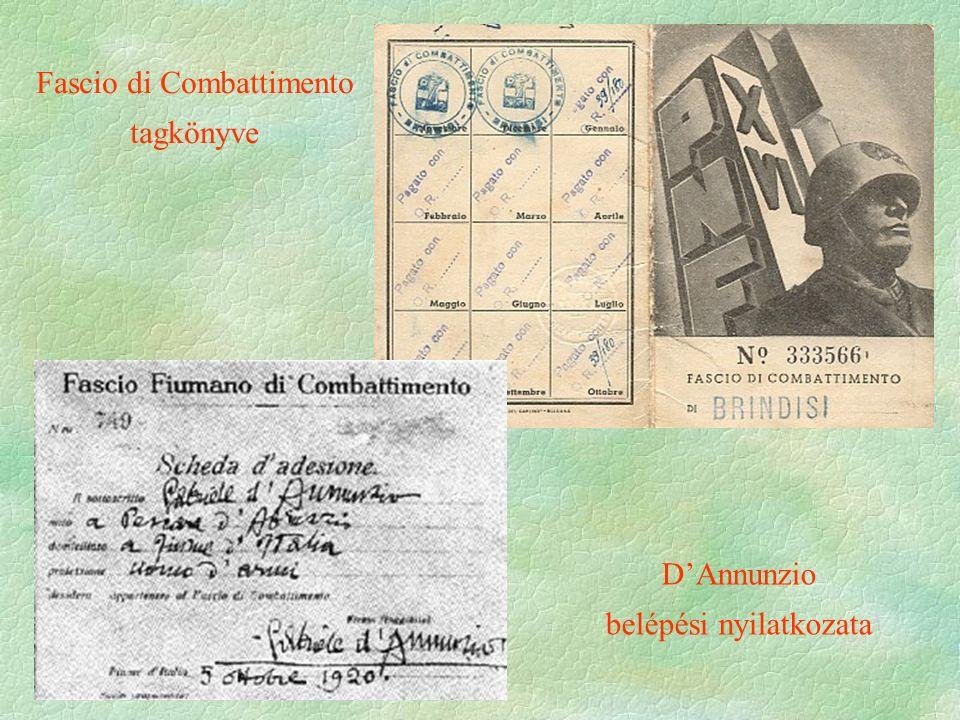  1921 - Fascio di Combattimento vezére Benito Mussolini lesz  eredetileg szocialista beállítottságú újságíró  1921-ben átalakítja Nemzeti Fasiszta Párttá fegyveres alakulata a feketeingesek, a squadrák  támogatói nagypolg., nagybirt., tisztek, királyi ház, Vatikán  1920-21 fegyveres harc a fasiszta alakulatok és a munkásság között (megindul a baloldali szervezetek és intézmények felszámolása)  1921-es választás – vereség (510-ből 35 mandátum)  Logikus következtetés  csak puccsal tudják a hatalmat megszerezni  A Marcia su Roma