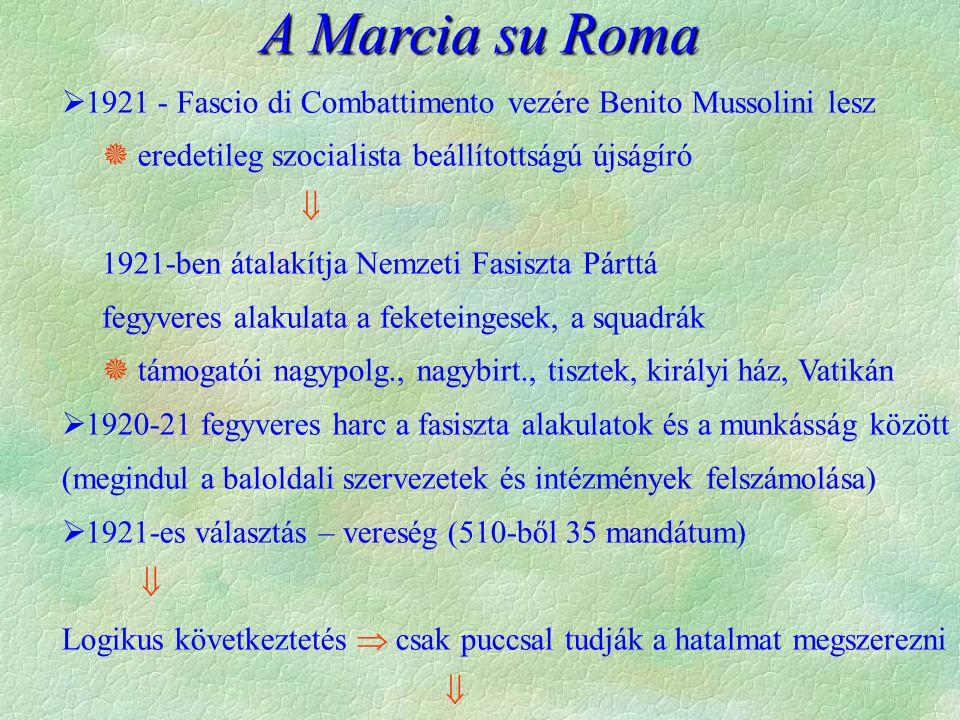 Agresszív külpolitika történelmi köntösbe öltöztetve  Imperium Romanum feltámasztása a cél:  Duna-medence elsősorban politikai befolyás kialakítása,  Földközi-tenger medencéjében (Albánia, Görögország, Marokkó, Tunézia, Algír) területszerzés,  gyarmati térségben is (Abesszínia)